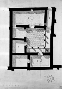Map of  the early synagogue building. (Yale Univ. Art Gallery)