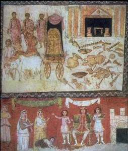 "Above: ""The Ark in the Land of the Philistines"". Below: Pharaoh and the infancy of Moses"". (Art Images for College Teaching)"