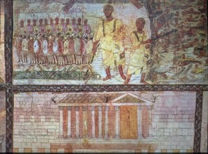 "Upper panel:""The Children of Israel Crossing the Red Sea"". Below:Tempel.(Art Images for College Teaching)"