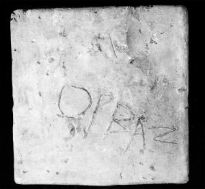"Graffito on tile. ""Orbaz"". Yale Univ. Art Gallery"